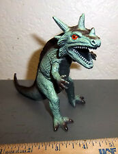 toy plastic dinosaur / monster, fun T-rex style w/ horns, 5 x 4.5 inches