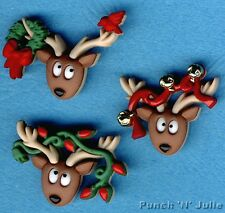 OH DEER - Reindeer Christmas Tree Lights Bells Novelty Dress It Up Craft Buttons