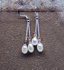 Sterling Silver Genuine AA Quality 6-7mm White Rice Pearl Double Drop Earrings