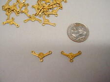 "Raw Brass Small 3 Loop ""Y"" Connector Jewelry Stampings 3 dozen"