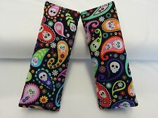 Child Seat Belt Strap Covers Car Chair Stroller - Bright Paisley Cadavera Skulls
