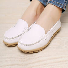 Women Casual Leather Slip on Loafers Moccasin Flats Boat Oxfords Shoes #2 35