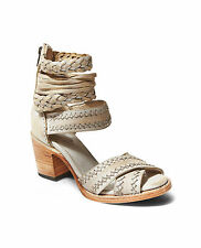 NEW Freebird by Steven Axel Ice Silver Leather Strappy Sandals Heel 10 MSRP $225