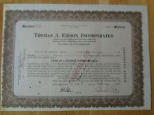 Historique des valeurs mobilières thomas A. Edison Inc. stock (signature Charles Edison)