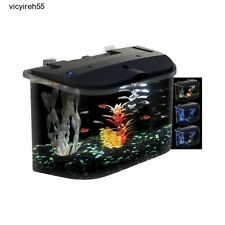 Acrylic Desktop Fish Tank Aquarium Filter Kit 5 Gallon LED Lights Home Reef Pet