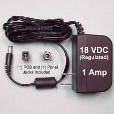 18 VDC, 1 Amp REGULATED Switching Power Supply + (2) Power Jacks (two types)