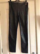 Gorgeous M&S Autograph Black Leather Front Leggings UK 8 RRP £129