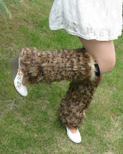 40cm Boot Cuff Fluffy Soft Furry Faux Fur Leg Warmers leopard Shoes Cover