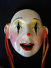 "Vintage but NEW About Face Clay Art Ceramic Wall Mask ""STAR MIME"" Clown"