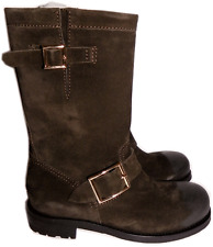 $1050 Jimmy Choo Suede Biker YOUTH Short Flat Motorcycle Boot Ankle Bootie 35- 5