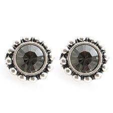 One Button Silver & Black Diamond Stud Earrings