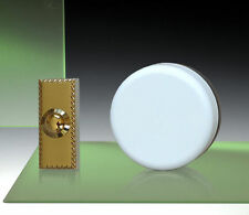 Wind Up Mechanical Doorbell, White, Brass Push - Model 851X