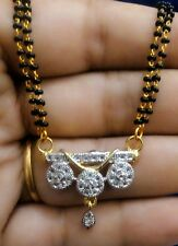 22k gold plated mangalsutra  pendant with black beads single line chain