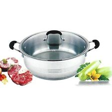 SXDF 18 Qt Quart 18/10 Stainless Steel Tri-Ply Base Wide Low Braze Stew Pot Lid