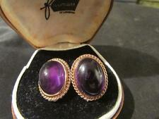 Beautiful Vintage Quality 9ct Gold & Amethyst Earrings