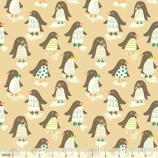 Blend Snow Day Penguin Parade Taupe FQ 100% Cotton Quilting Christmas Fabric