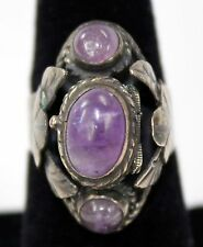 Vintage Signed Mexico Mexican Sterling Silver 3 Amethyst Poison Ring Adjustable
