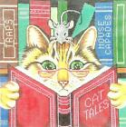 Adorable LEE Cat Tales w/ Mouse Reading handpainted Needlepoint Canvas ~16 mesh
