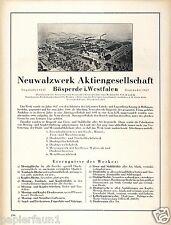 Walzwerk Bösperde Reklame & Historie 1925 Kissing & Möllmann Blech Draht Werbung