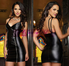 New Womens Sexy Black Wet Look PVC Zipper Mini Dress Lingerie Punk Clubwear