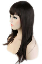 Fast Post Women Lady Blunt Bangs Full Wigs Long Straight Light Black Blonde Red