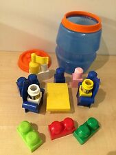 MEGA BLOKS BARREL CONTAINING CHAIRS TABLE ANIMALS FLAG BLOKS