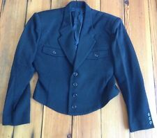 Vintage gamme de couleur Japan Wool Blend Black Military Style Blazer Coat 36""