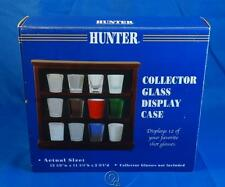 """12 Piece Collector Shot Glass or Golf Ball Display Case Cherry Wood 3"""" Shelves"""