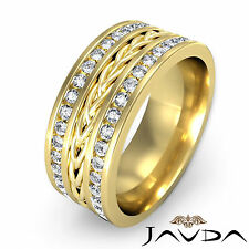 9.5mm Mens Wedding Band Pave 18k Yellow Gold Diamond Rope Eternity Ring 1.75Ct