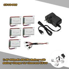 5Pcs CX-33-002 7.4V 450mAh 2S LiPo Battery with Charger for Cheerson CX-33 S2D5