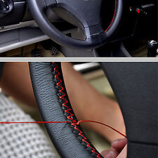 Genuine Leather Car Auto Steering Wheel Cover Non-Slip 38cm w/ Needle Thread WL