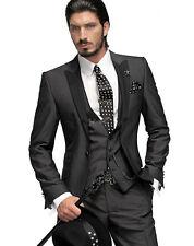 Charcoal Grey Groom Tuxedos Best Man Peak Black Lapel Groomsmen Men Wedding Suit