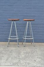 Vintage industrial metal stool with wooden seat x 2 3204