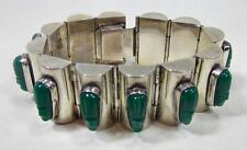 Vintage 925 Sterling Silver Taxco Mexico Bracelet Aztec Green Onyx Figures