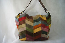 LUCKY BRAND Chevron Patchwork Leather and Suede Hobo Bohemian Shoulder Bag Purse