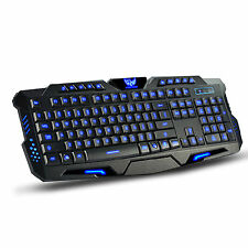 Ergonomic 3 Colors LED Backlight Illuminated USB Gaming Keyboard for PC Laptop
