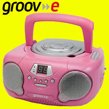 Groov-e GVPS713 PINK Portable Boombox Kids CD Player Radio Aux-In FREE AUX LEAD
