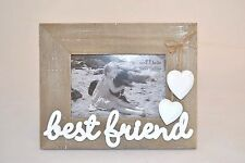 Best Friend Photo Frame Wooden with White Hearts Standing Frame Friend Gift