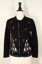 Ugly Christmas Sweater Air Port Girl Cardigan Beaded Black Women's Sz Large