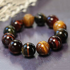 15MM Natural Colorful Tiger Eye Stone Gemstone Beads Men Jewelry Bracelet Bangle