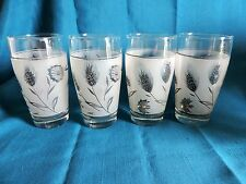 Vintage Libby Silver Wheat Pattern Frosted Tea/ Water Glasses Set of 4