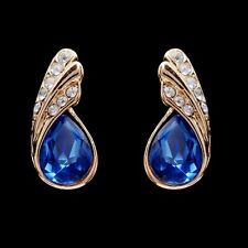 Kingly Feather Blue Crystal stud earring for women girl Valentine's Day