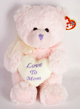 "Ty Beanie Buddies Love To Mom Teddy Bear 11"" Plush Pink Heart Mother's Day NWT"