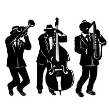 Jazz Trio Silhouettes Decorations 18''  - 1920's / Mardi Gras Party Decorations