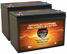 (2) 12V SLR100 (200AH total) AGM Deep Cycle BATTERIES for RENOGY SOLAR PANELS PV