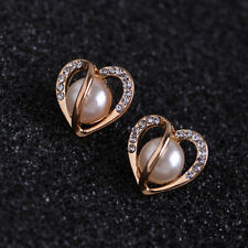 Fashion Style Ear Jewelry Rose Gold Hollow Heart Rhinestone Pearl Earrings Gift
