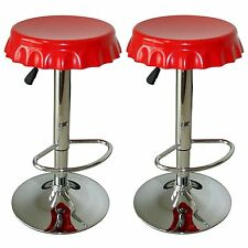 AmeriHome 2 Piece Soda Cap Bar Stool Set, Red top BS107SET New