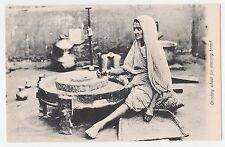 India,Old Woman Grinding Wheat for Evening Bread,Ethnic Postcard,c.1909