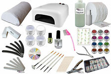 XXL Starterset UV Gel Nail Studio Set lamp 36Watt many accessories Glitter #0248