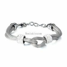 Lady Women's Silver Stainless Steel Bead Mesh Double Row Infinity Love Bracelet